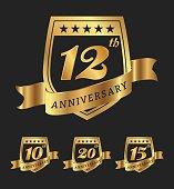 Golden anniversary badge labels design