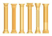 Golden antique column. Classic roman pillars architectural art sculpture pedestal vector realistic