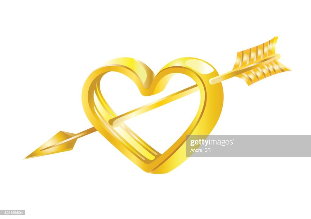 Golden arrow of Cupid in the Golden heart.