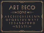Golden art deco font. Luxury decorative 1920s geometric letters, ornamental gold numbers and retro frame vector set