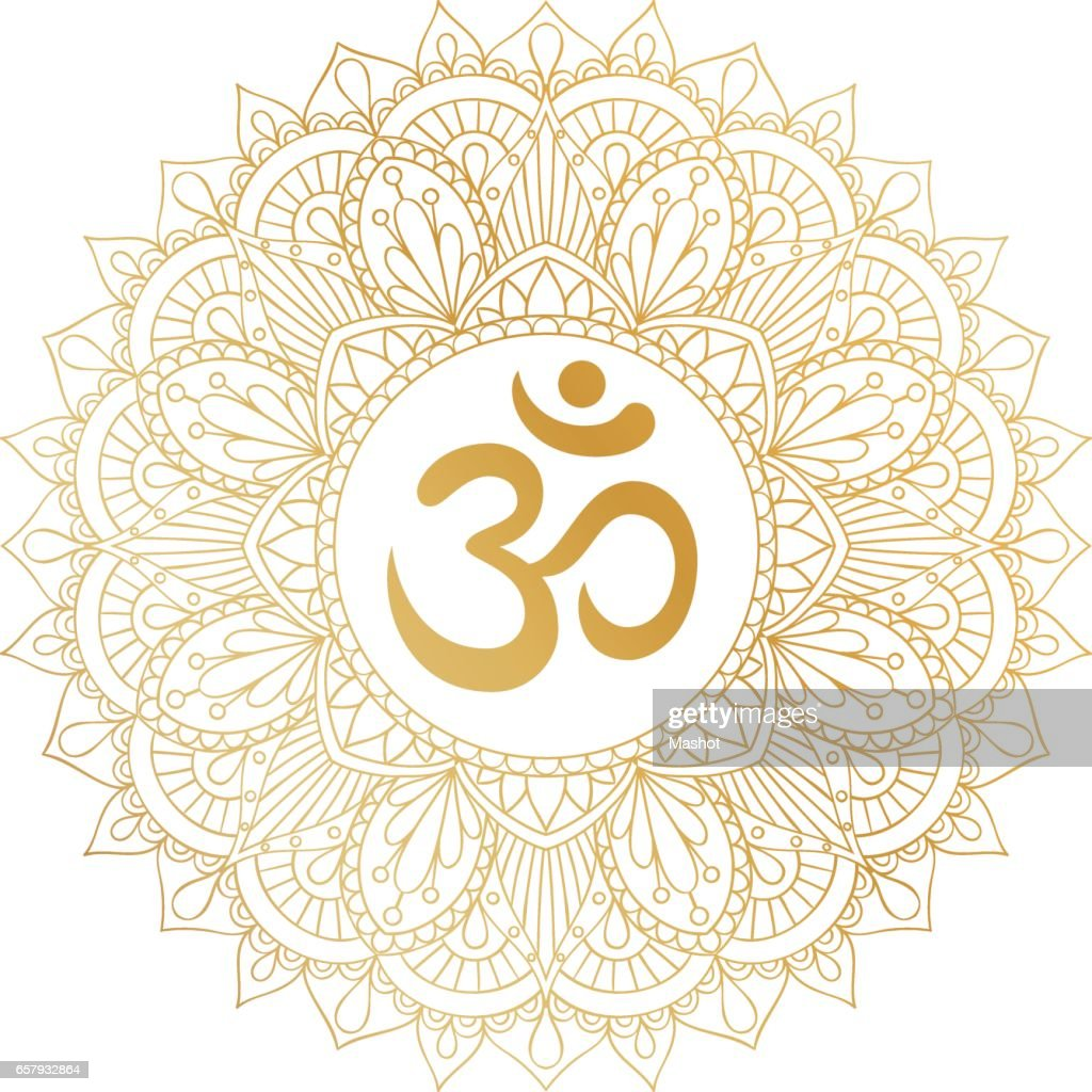 Golden Aum Om Ohm symbol in round mandala ornament.