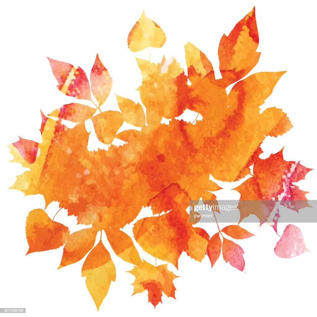 Golden autumn, leaves of bouquet, handmade painted, template object for you project, abstract vector design art