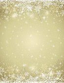 Golden background with  frame of snowflakes,  vector