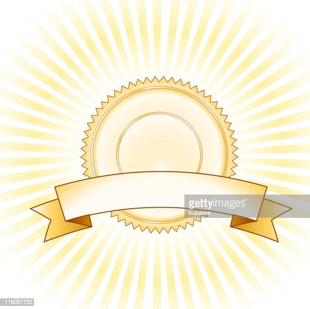 golden badge on royalty free vector Background with glow effect