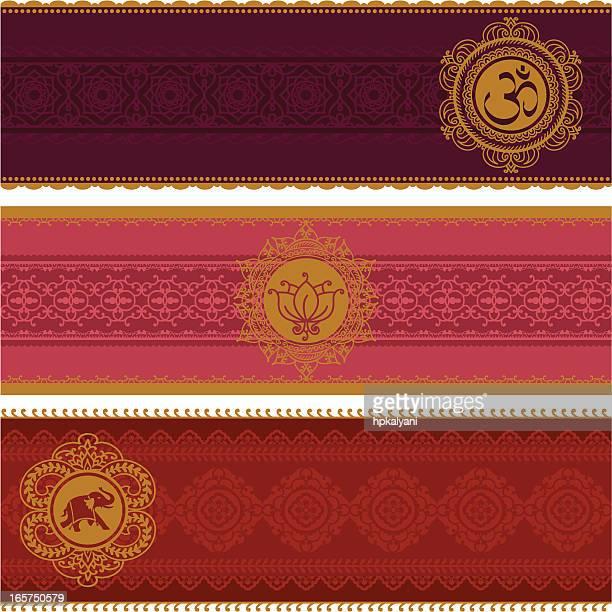 golden banners - om symbol stock illustrations