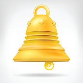 golden bell 3D object isolated on white