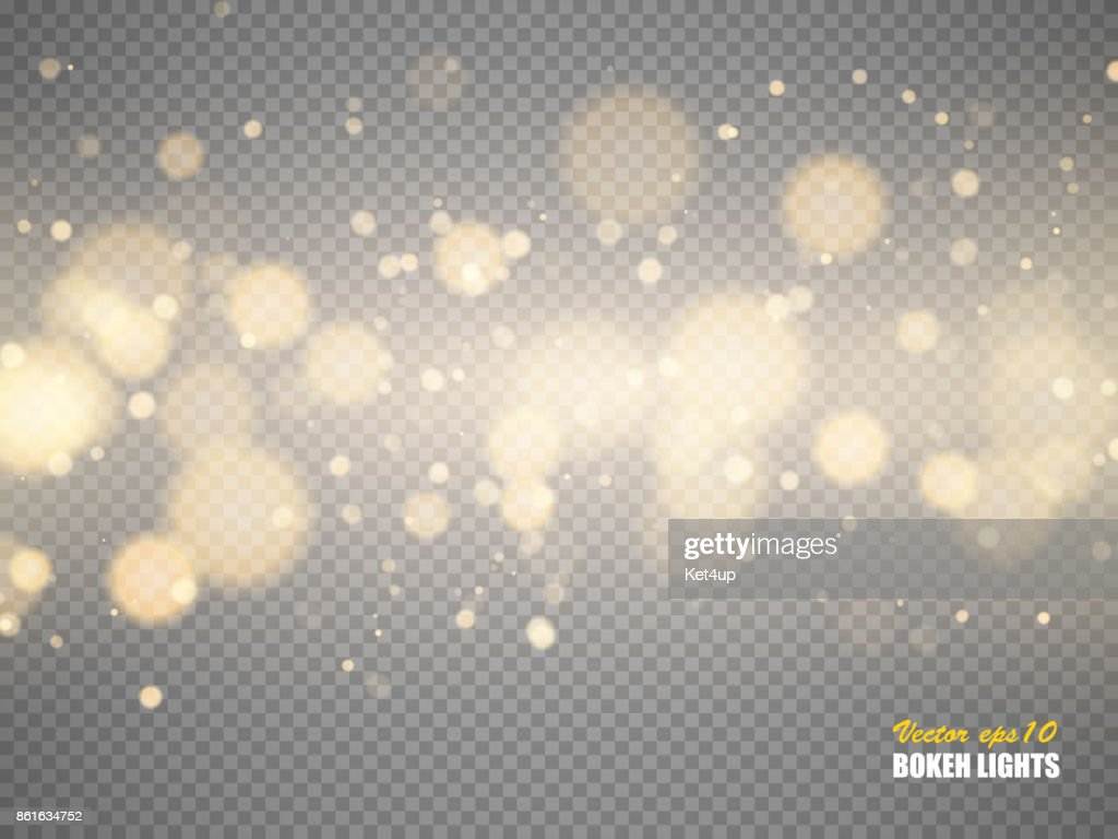 Golden bokeh lights with glowing particles isolated. Vector