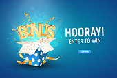 Golden bonus word flying from textured gift box and blue background. Winning prize vector illustration
