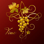 Golden branch of grapes. Decorative element from the vine on a red background.
