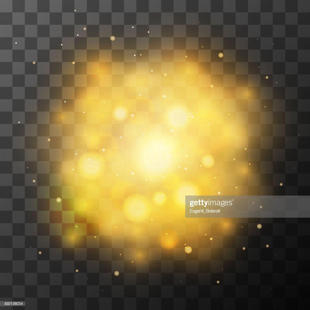 Golden bright light, magic effect in the dark