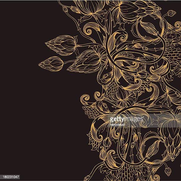 ゴールドバド - リーフ柄点のイラスト素材/クリップアート素材/マンガ素材/アイコン素材