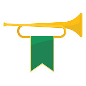 Golden bugle with green ribbon on it vector illustration