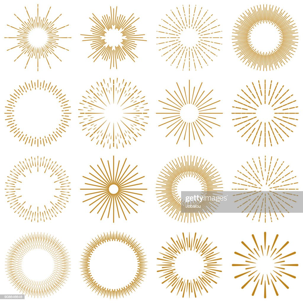 Golden Burst Rays Collection : stock illustration
