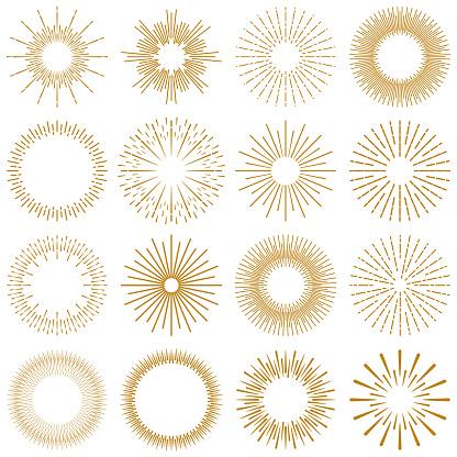 Golden Burst Rays Collection - gettyimageskorea