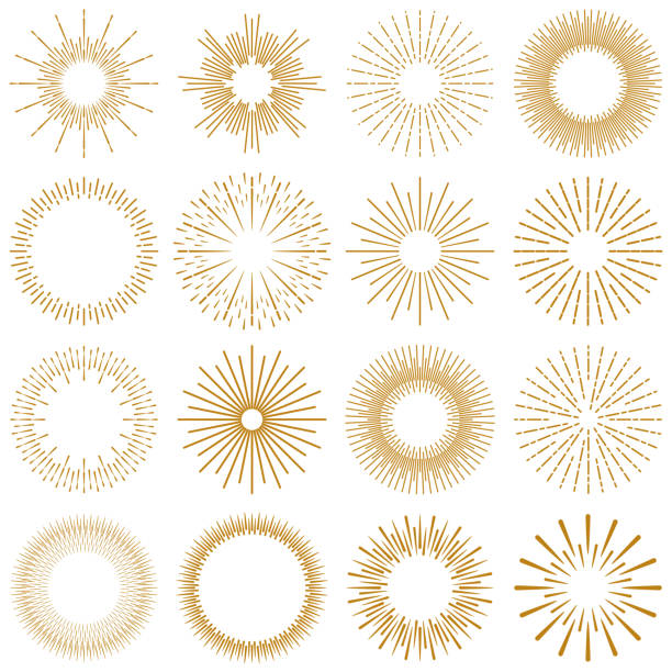 golden burst rays collection - vector stock illustrations