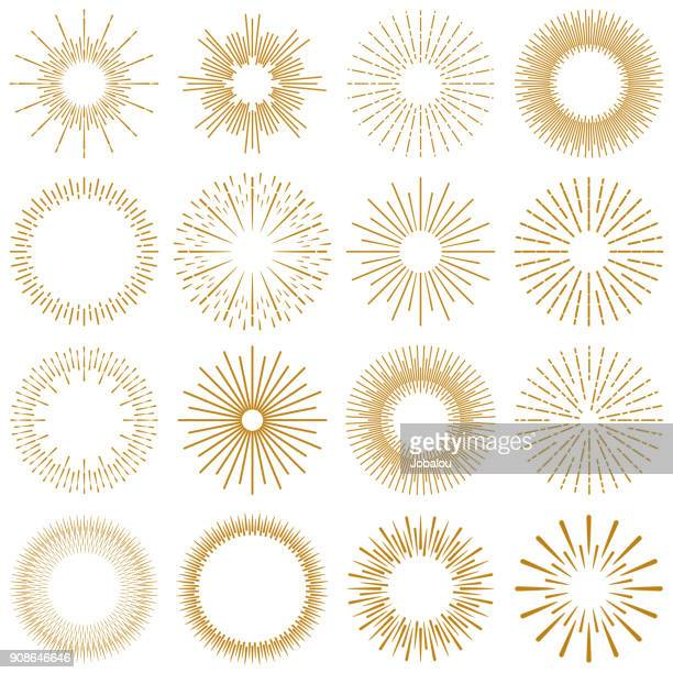 illustrazioni stock, clip art, cartoni animati e icone di tendenza di golden burst rays collection - riflesso