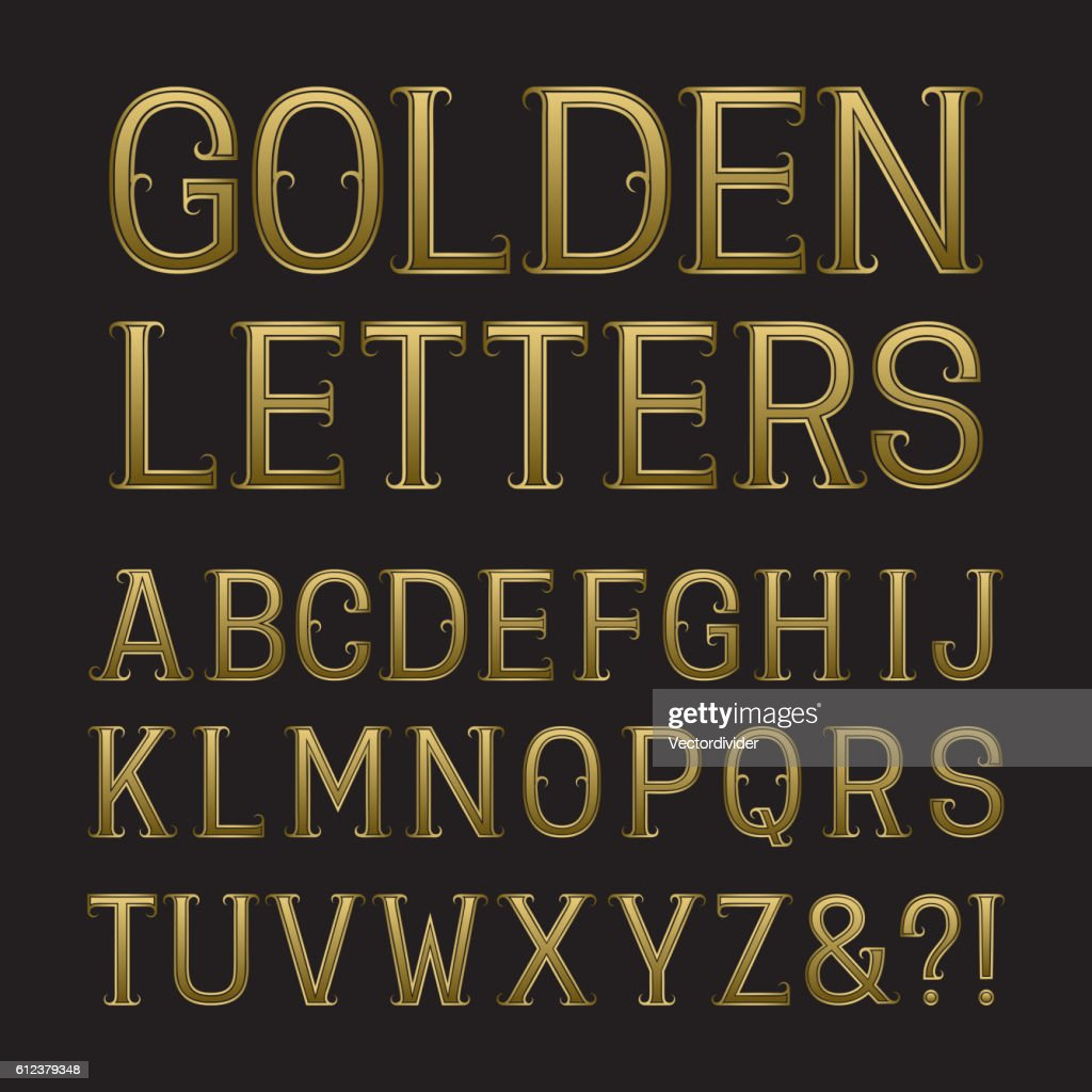 Golden capital letters with tendrils.