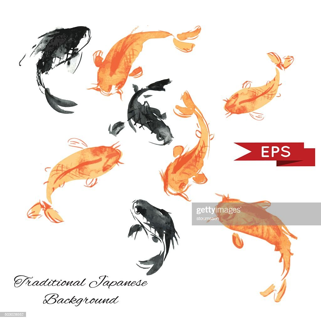 Golden carp ink background. Isolated illustration. Vector image