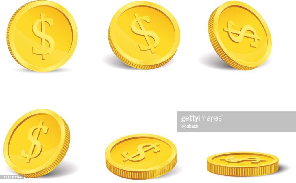 Golden casino coins in different positions isolated on white. Vector.