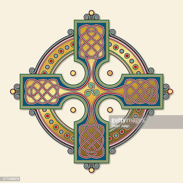 golden celtic cross ornament (knotted cross variation n° 6) - book of kells stock illustrations