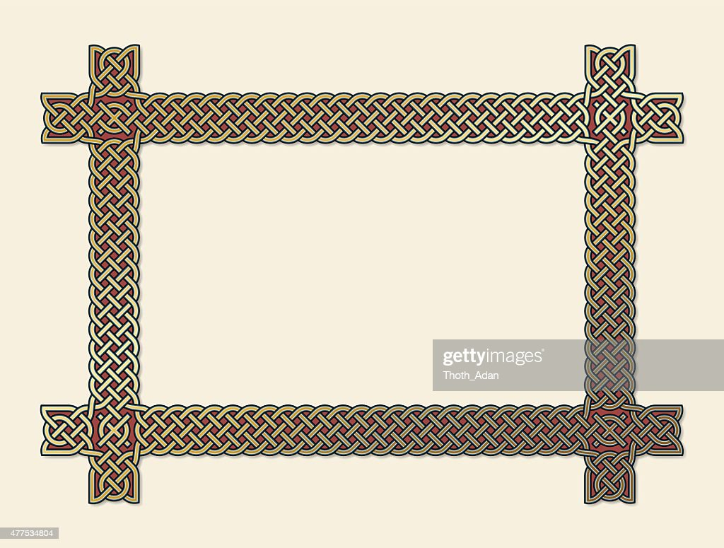 Golden Celtic knot frame element : stock illustration
