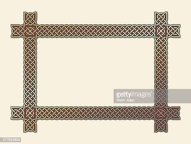 golden keltische knoten-frame-element - book of kells stock-grafiken, -clipart, -cartoons und -symbole