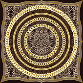 Golden Chains Seamless Pattern on Leopard Background.