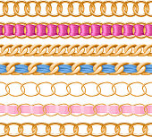 Golden chains set with colorful fabric ribbon vector brush