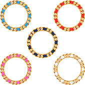 Golden chains with colorful fabric ribbon vector frames set