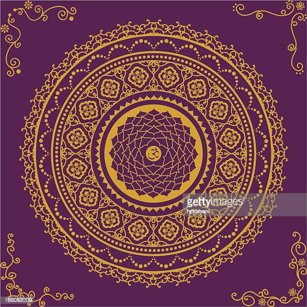 golden chakra seven - medallion stock illustrations, clip art, cartoons, & icons