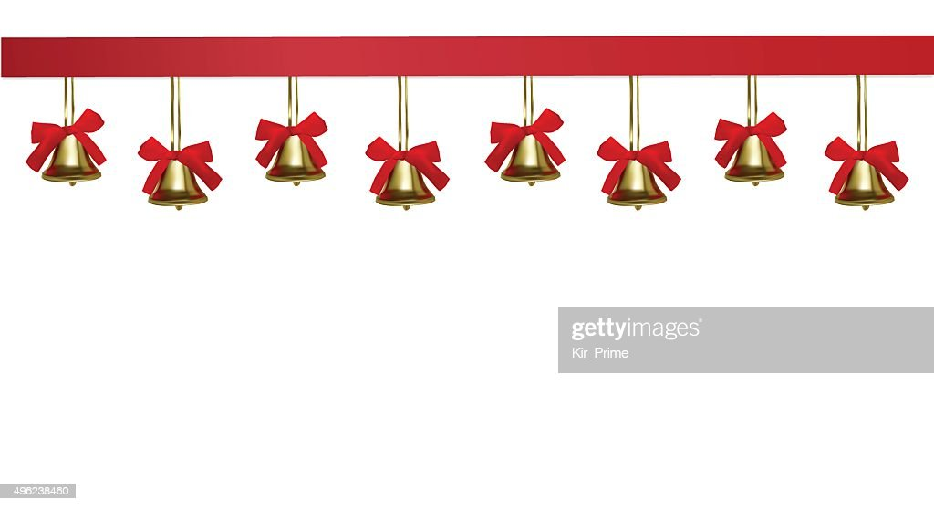 Golden christmas bells hanging under a red satin tape frame