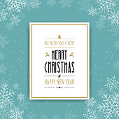 golden christmas card winter snowflakes background