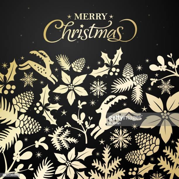 goldene blumen weihnachtsgrußkarte - tannenzweig stock-grafiken, -clipart, -cartoons und -symbole