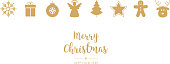 Golden christmas ornament icons elements isolated background