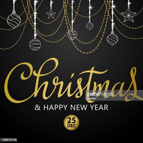 golden christmas ornaments & calligraphy - parade stock illustrations