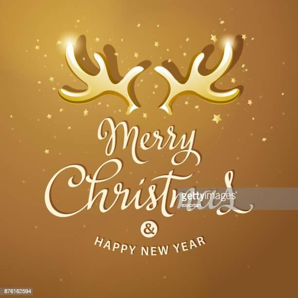 Golden Christmas Reindeer Antlers