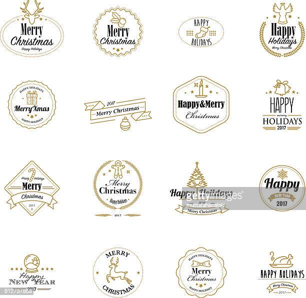 Golden christmas stamps with lineart icons