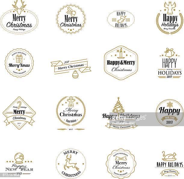 Timbres de Noël or avec symboles Lineart
