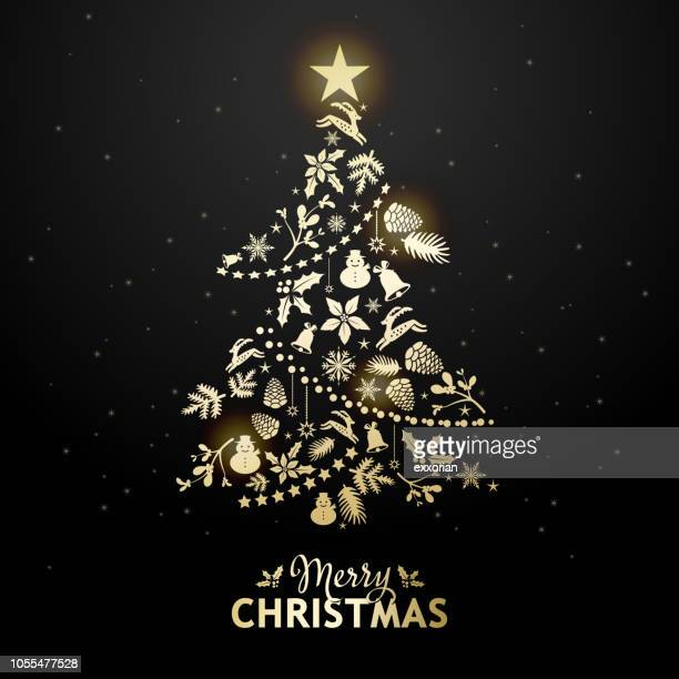 golden christmas tree elements - christmas trees stock illustrations