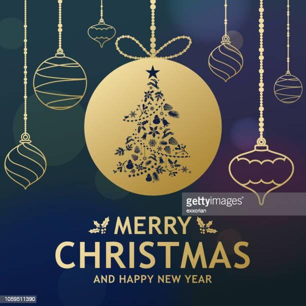 ilustraciones, imágenes clip art, dibujos animados e iconos de stock de ornamentos del árbol de navidad dorado - flor de pascua