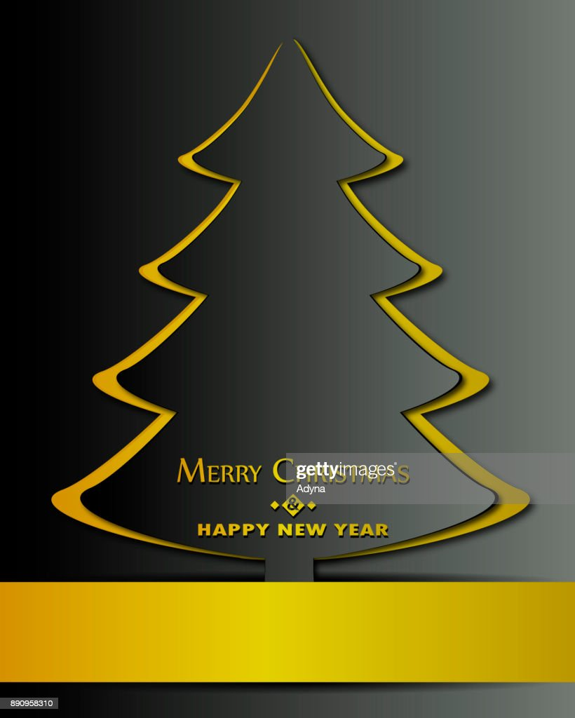 Golden Christmas Tree Stock Illustration Getty Images
