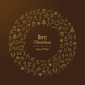 Golden Christmas wreath with lineart icons