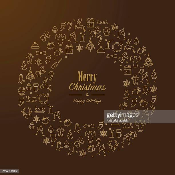 ilustraciones, imágenes clip art, dibujos animados e iconos de stock de dorado con corona de navidad con iconos lineart - corona