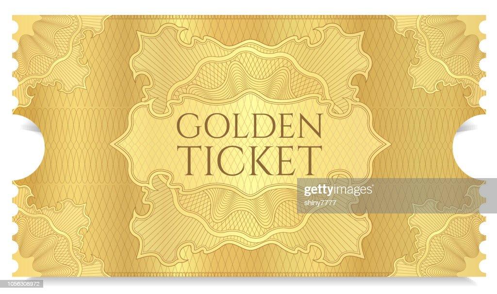 Golden cinema ticket template