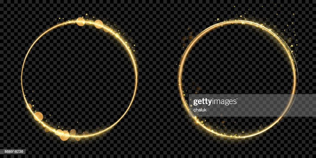 Golden circle frame gold glitter light particles vector shiny sparkling black background