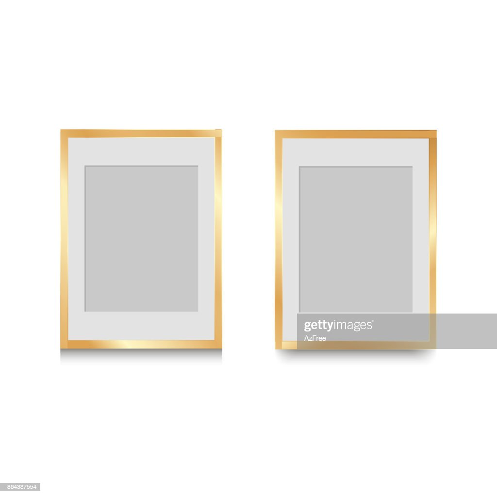 Golden classic photo frame. vintage design for your photo