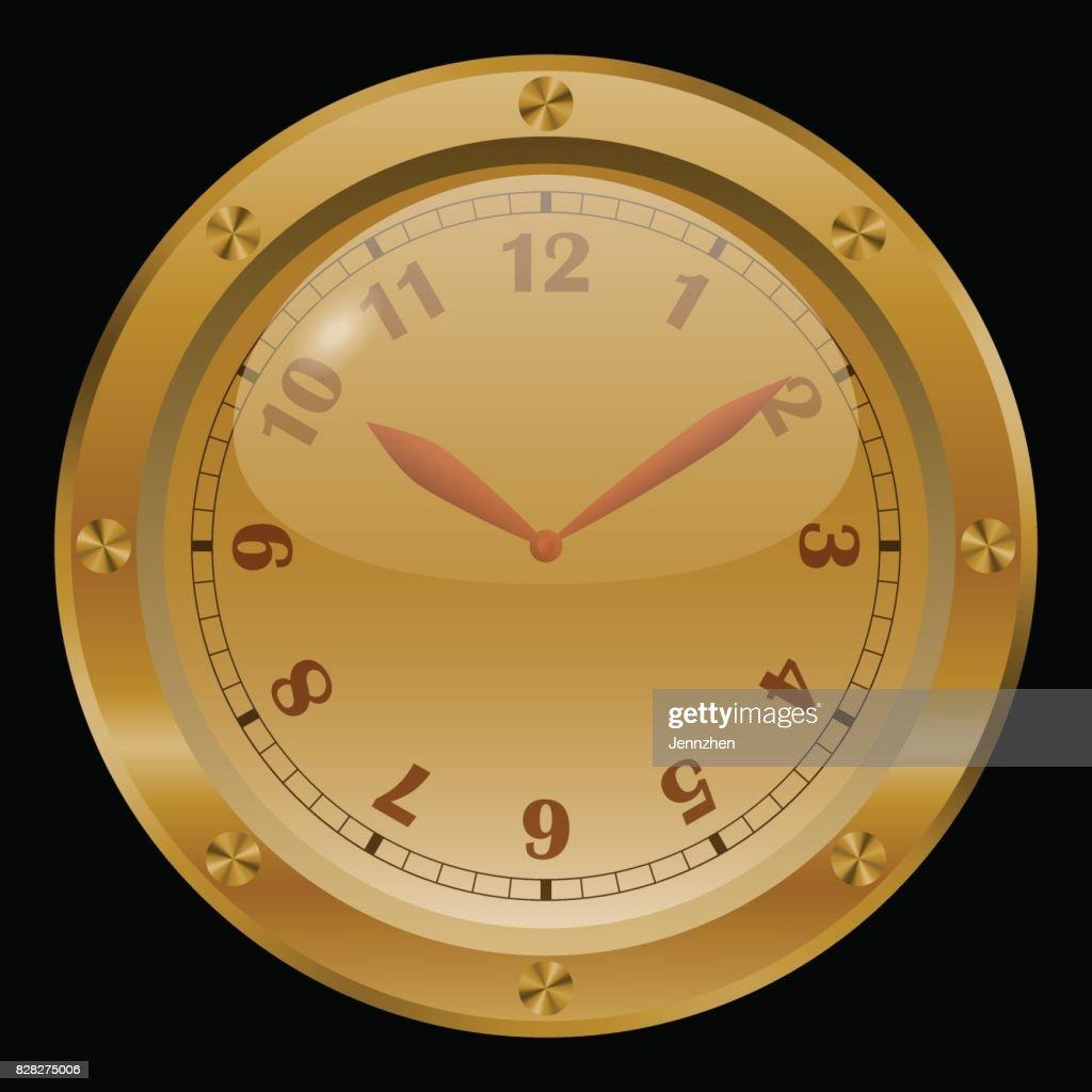 Golden clock vector on black background.