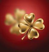 Golden clover leaf, vector illustration for St. Patrick day. Blured four-leaf on red background. Jewelry 3d design