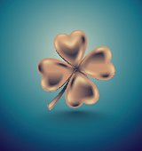 Golden clover leaf, vector illustration for St. Patrick day. Isolated four-leaf on turquoise background. Jewelry 3d retro design