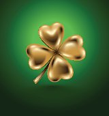 Golden clover leaf, vector illustration for St. Patrick day. Isolated four-leaf on green background. Jewelry 3d design